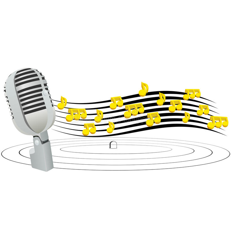 Microphone And Music Notes Royalty Free Stock Photo