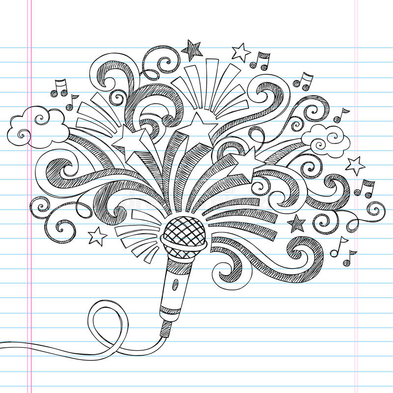 Microphone Music Sketchy Doodles Vector Illustrati