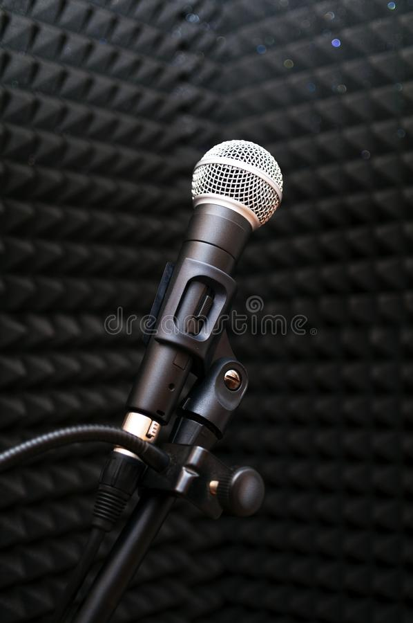 Microphone in a music studio stock image