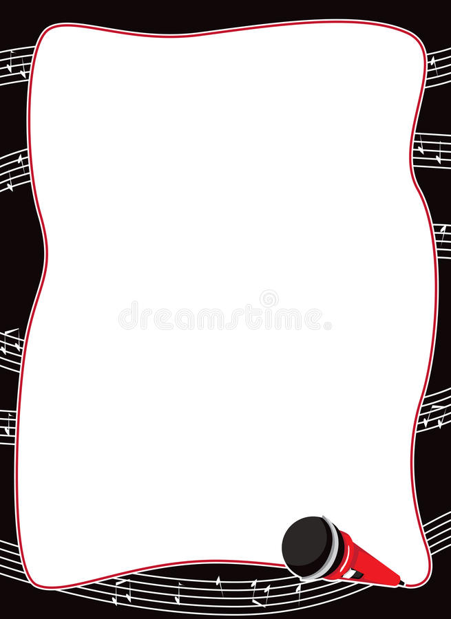 Download Microphone And Musical Notes Border Stock Vector - Image: 21342202