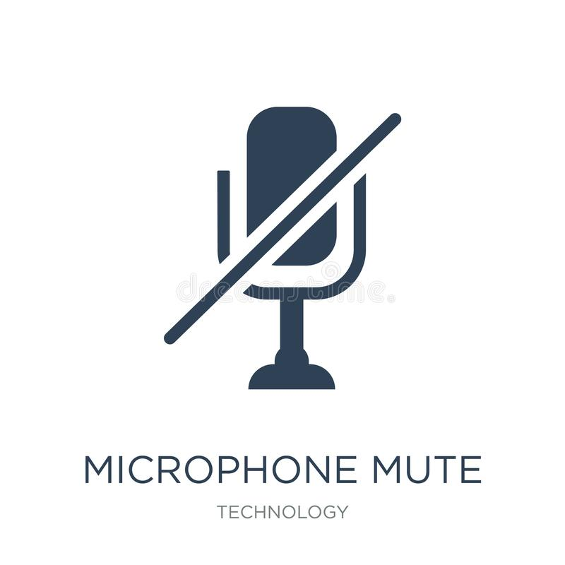 Microphone mute icon in trendy design style. microphone mute icon isolated on white background. microphone mute vector icon simple. And modern flat symbol for stock illustration
