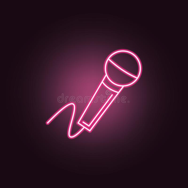 Microphone neon icon. Elements of Party set. Simple icon for websites, web design, mobile app, info graphics royalty free illustration