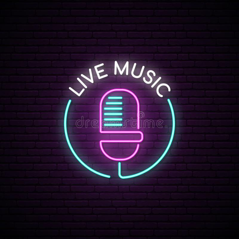 Microphone neon sign. royalty free illustration