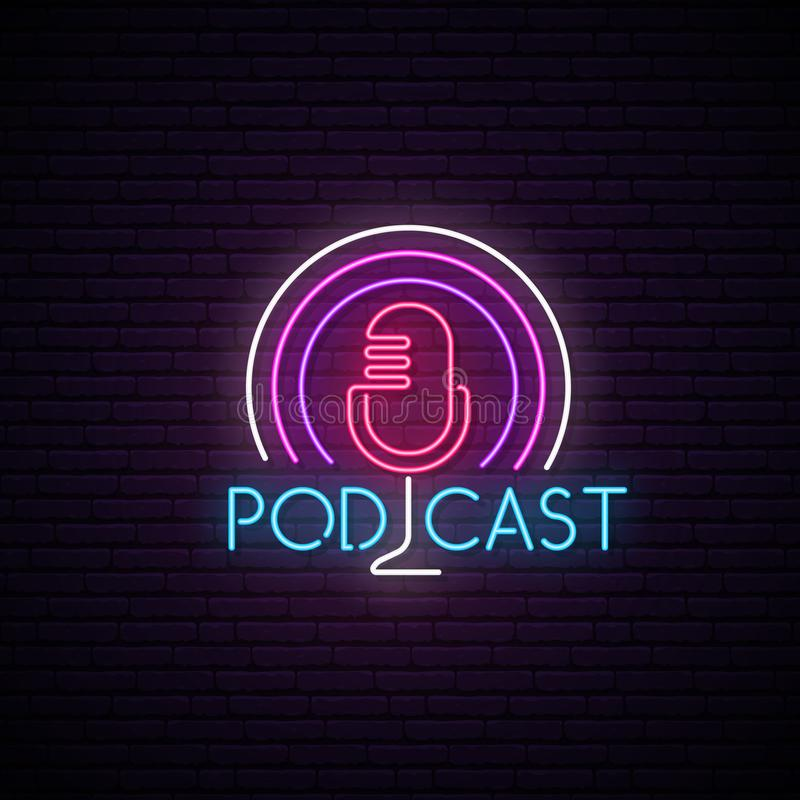 Microphone neon sign. Podcast bright emblem. vector illustration