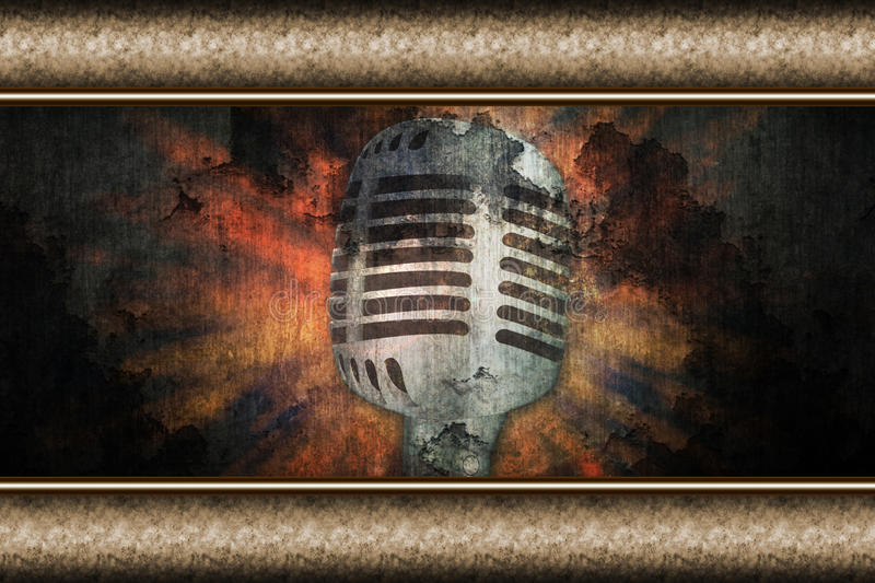 Download Microphone Over Grunge Wall Stock Illustration - Image: 29592330