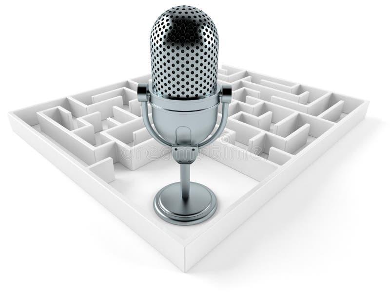 Microphone par radio à l'intérieur de labyrinthe illustration libre de droits