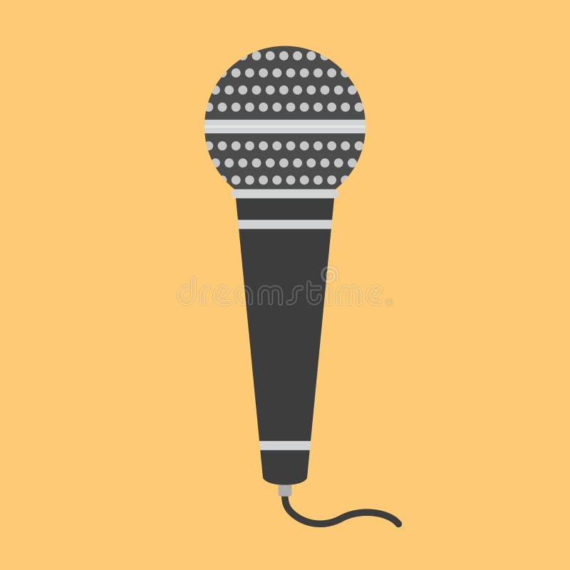 Microphone plat d'icône illustration stock