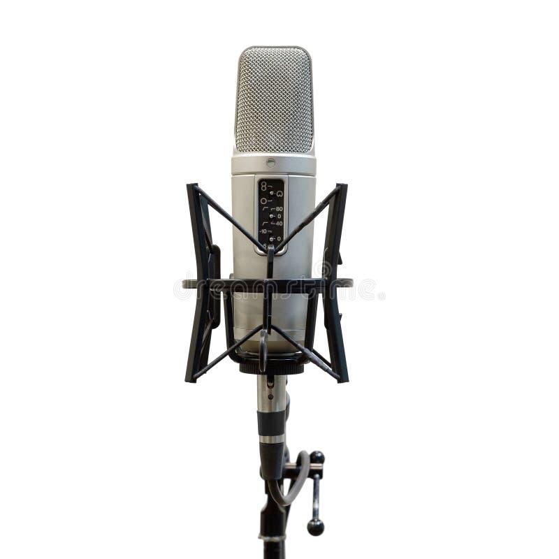 Microphone pour l'enregistrement de voix D'isolement photographie stock libre de droits