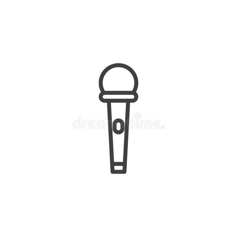Microphone with power button line icon stock illustration