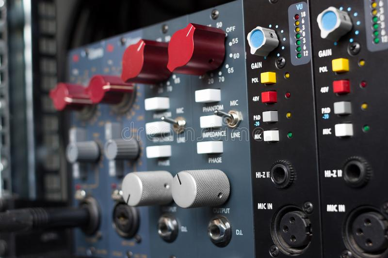Microphone preamps for recording. royalty free stock photography