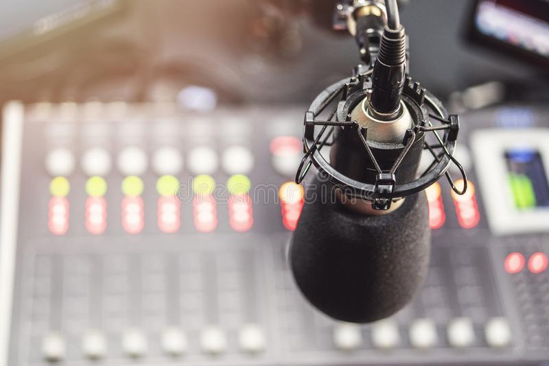 Microphone in radio studio stock photos