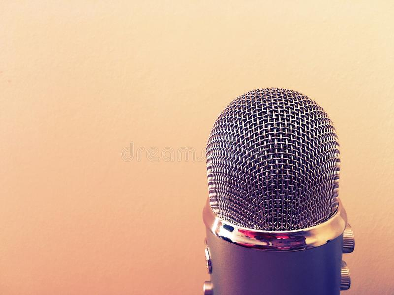 Microphone. Recording silver microphone for speeches, audio, radio royalty free stock images