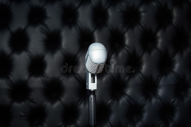 Microphone in a recording studio. Sound recording studio. royalty free stock photo