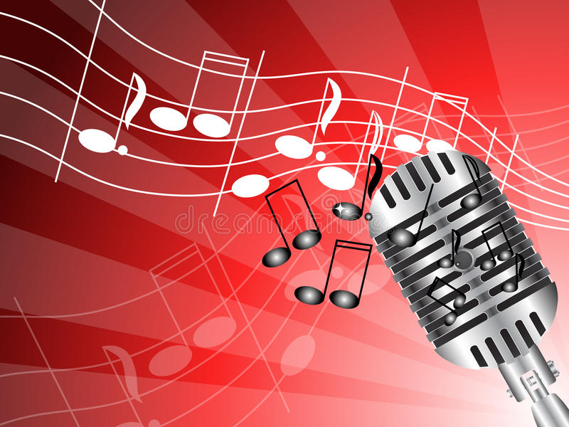 Microphone on red. Silver microphone on bright red vector illustration