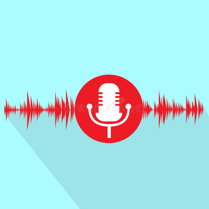 Microphone red icon with sound wave flat design stock illustration