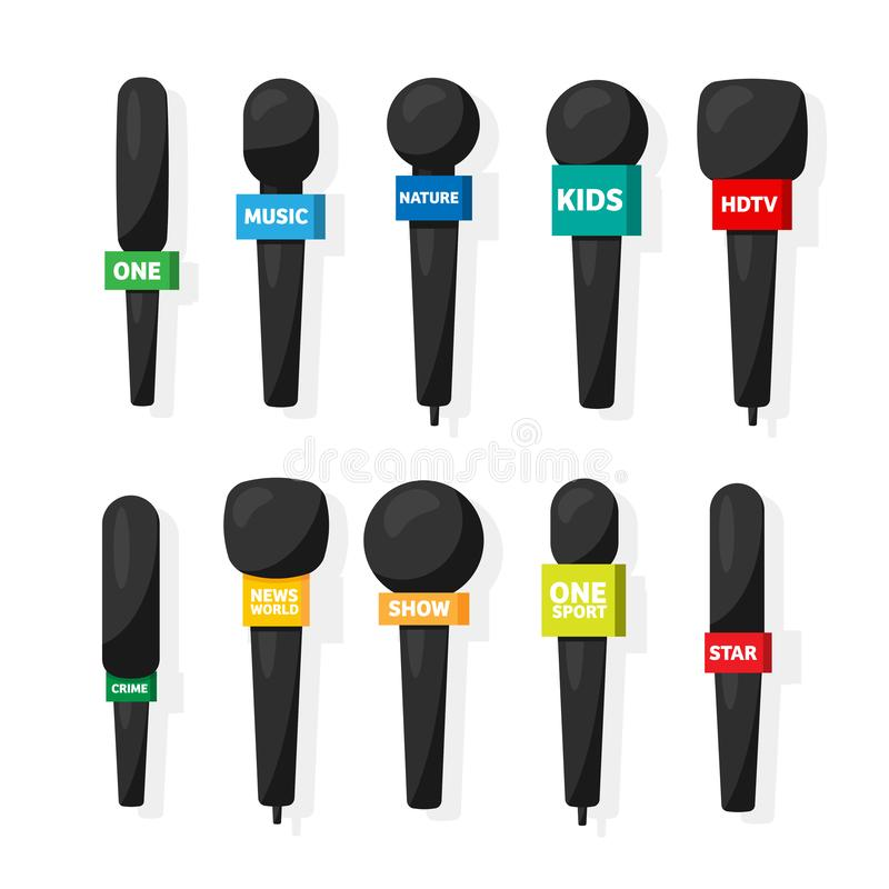 Microphone,reporter equipment in flat style. Mass media,tv television show.Audio conference and interview. Broadcasting. Communication. Music sound royalty free illustration
