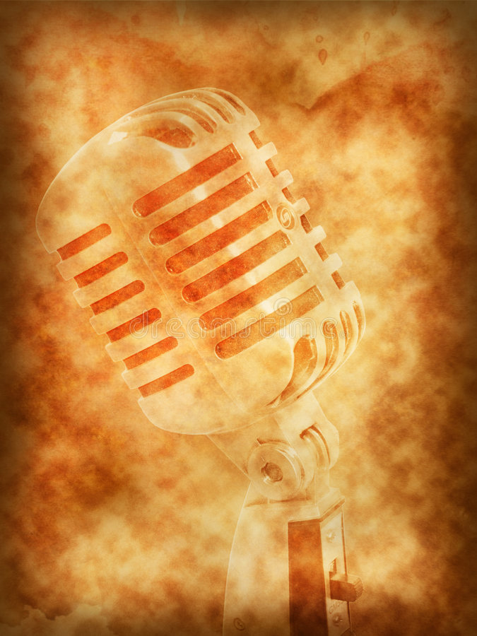 Microphone retro background. Microphone retro on texture of old paper royalty free illustration
