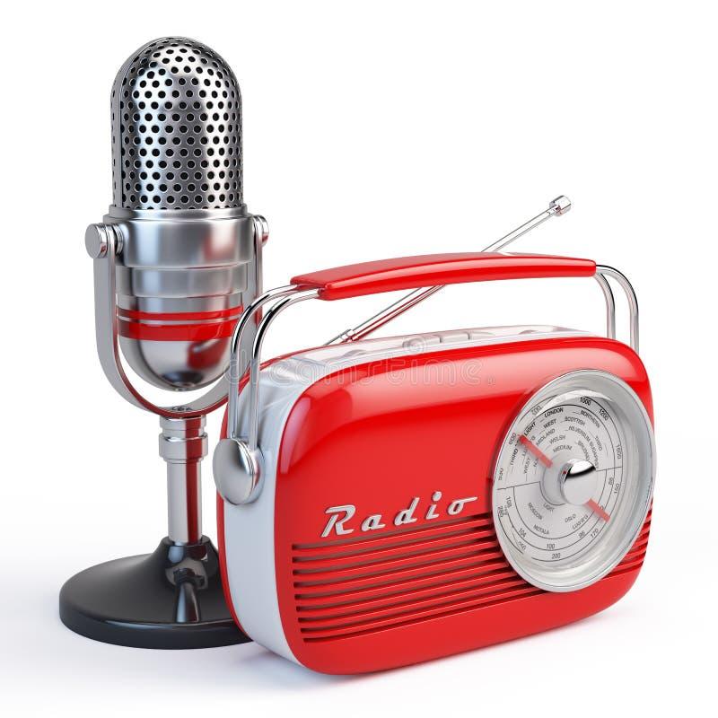 Microphone and retro radio. On white background stock illustration