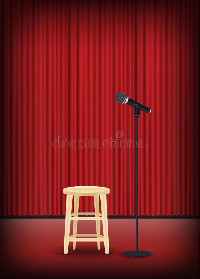 Microphone with round chair on stage show royalty free illustration