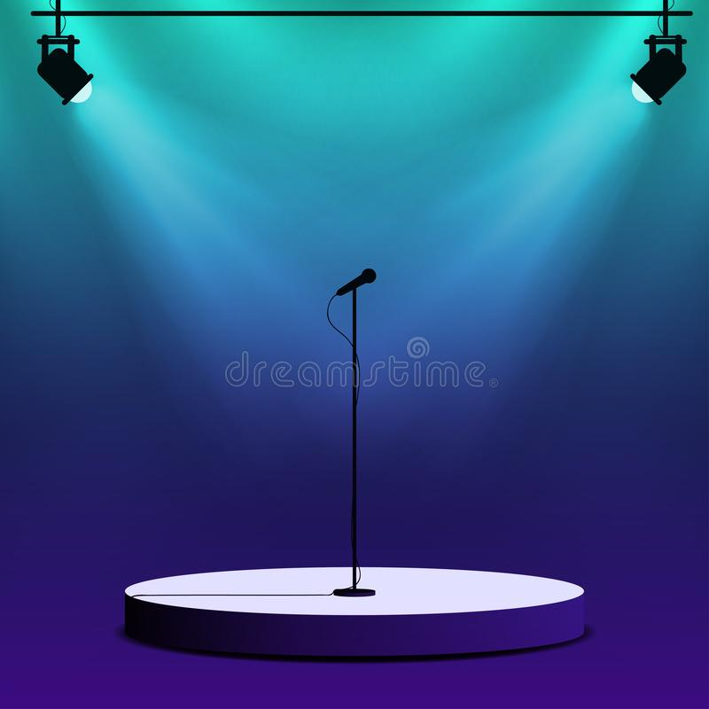 Microphone on round stage scene. Spotlights with light beams. On colorful background. Stand up show, performance, karaoke poster template. Vector royalty free illustration