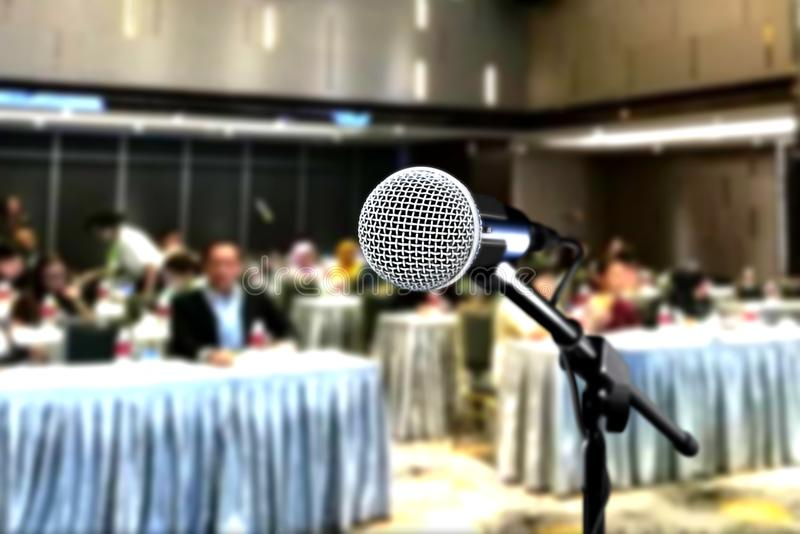 Microphone during seminar conference royalty free stock photos