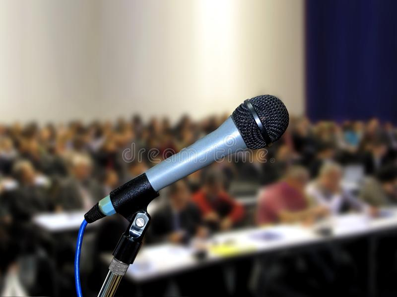 Download Microphone at Seminar stock photo. Image of show, seating - 36967250