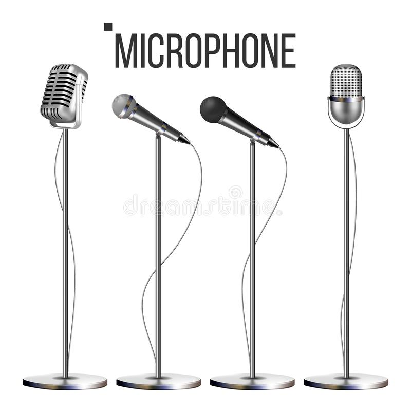 Microphone Set With Stand Vector. Music Icon. Vintage Concert. Modern And Retro. Audio Communication Musical Symbol. Performance. Illustration royalty free illustration