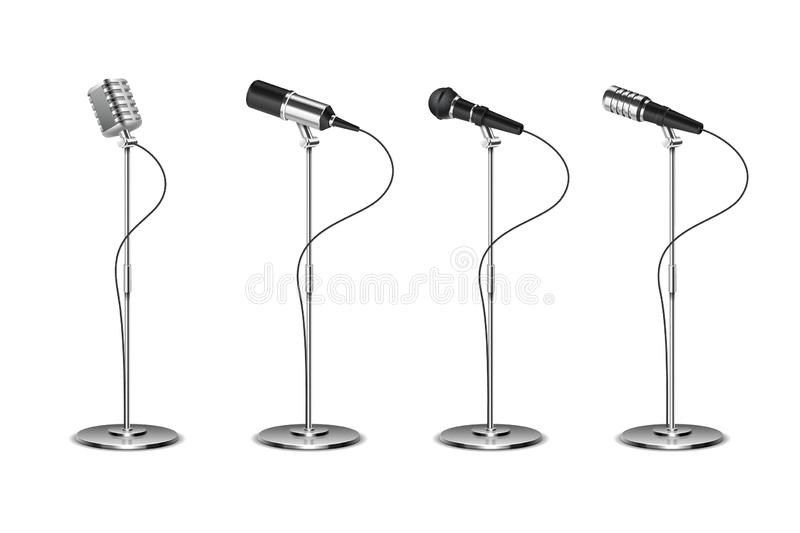 Microphone set. Standing microphones audio equipment. Concept and karaoke music mics vector isolated collection. Illustration of sound equipment mic stock illustration