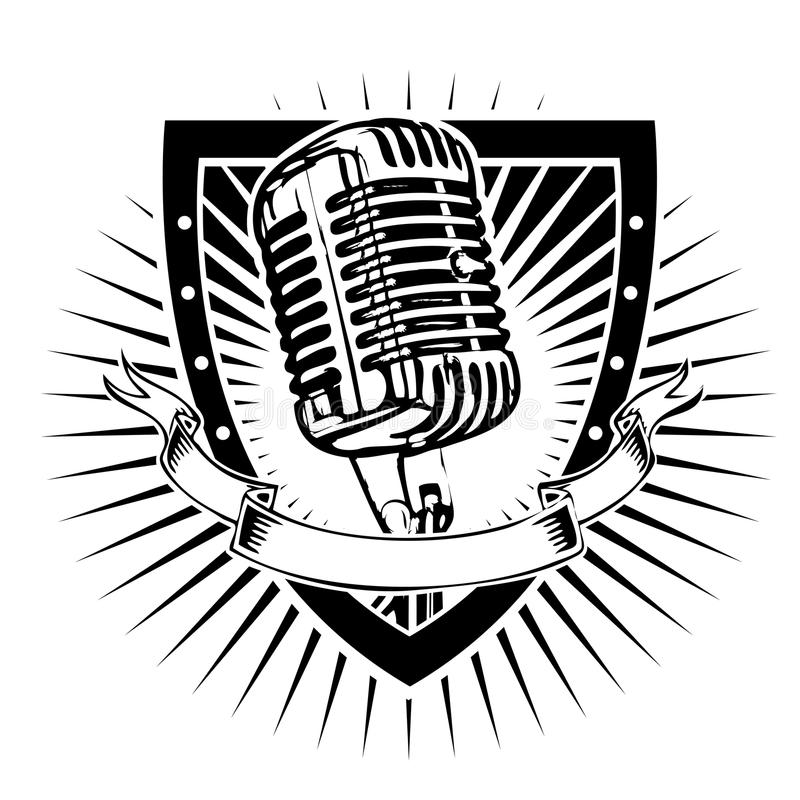 Microphone shield. Microphone illustration on the shield stock illustration