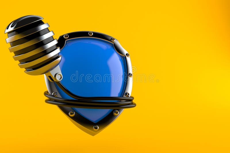 Microphone with shield. Isolated on orange background. 3d illustration stock illustration