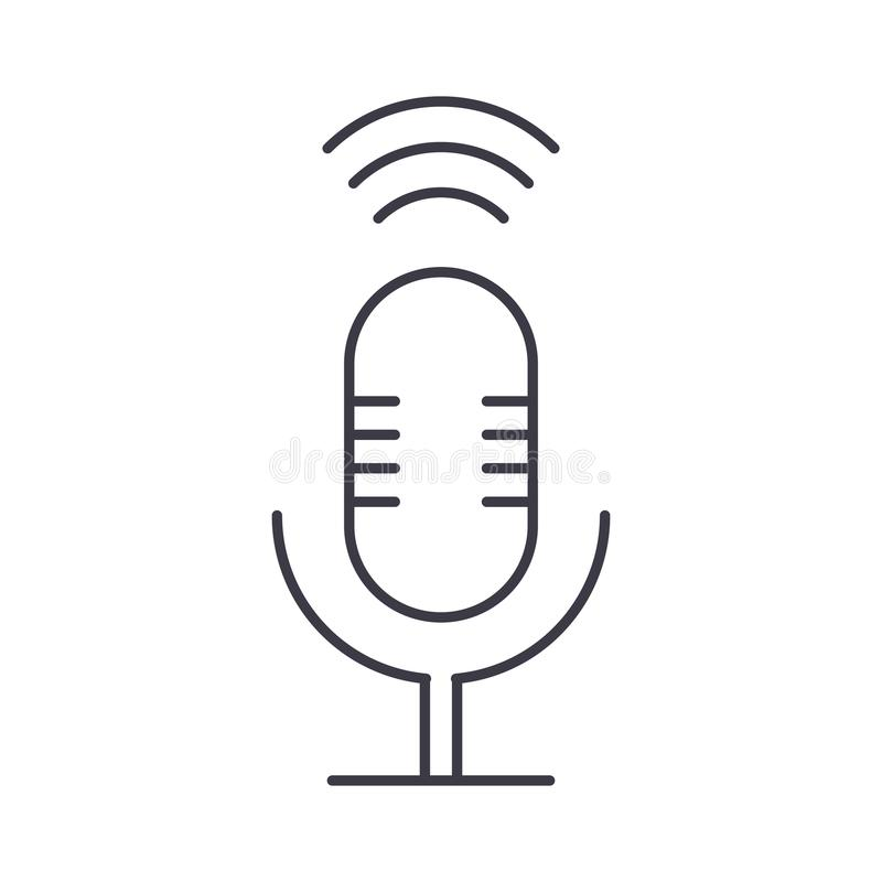Microphone sign vector line icon, sign, illustration on background, editable strokes. Microphone sign vector line icon, sign, illustration on white background royalty free illustration