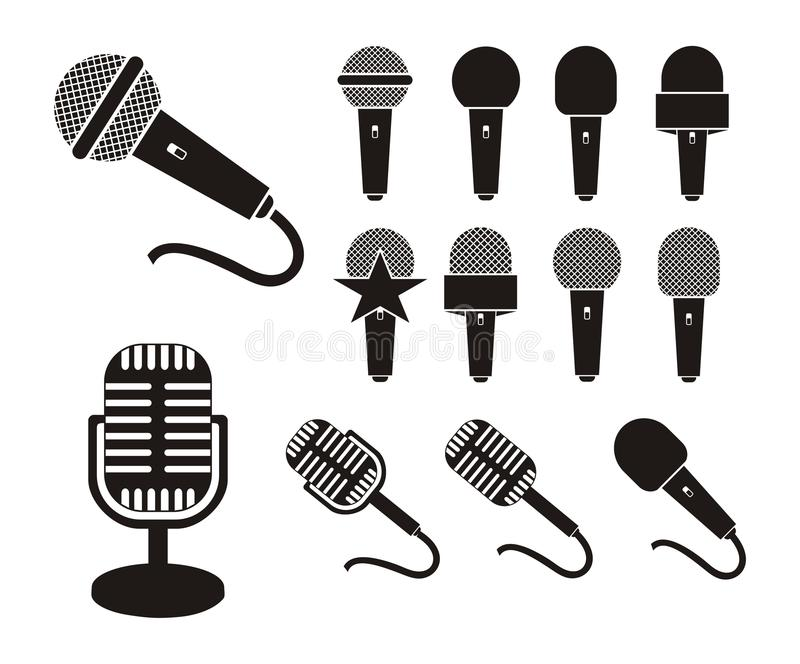 Microphone silhouette. Suitable for user interface vector illustration