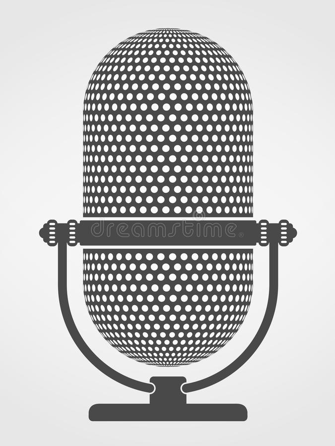 Microphone Silhouette. Silhouette of a microphone on gray background stock illustration