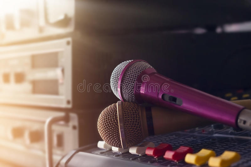 Microphone on sound control in backstage of concert royalty free stock photography