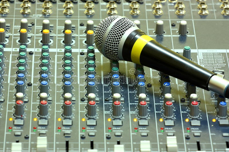 Download Microphone on sound mixer stock illustration. Image of desk - 28549276