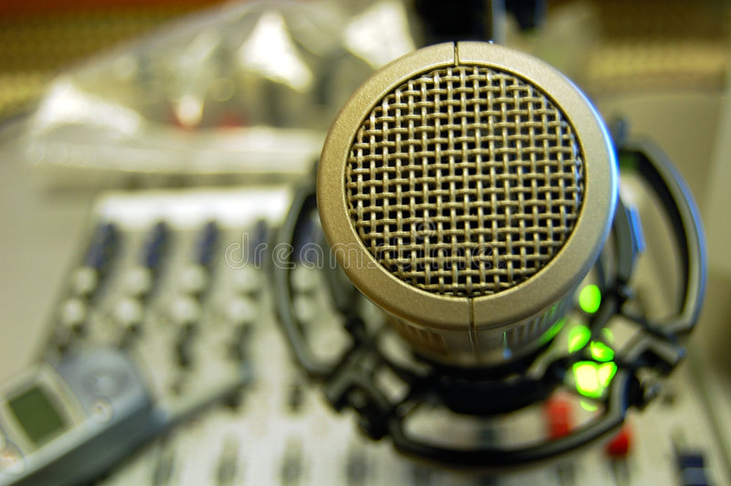 Microphone Sound Mixing Console Stock Image