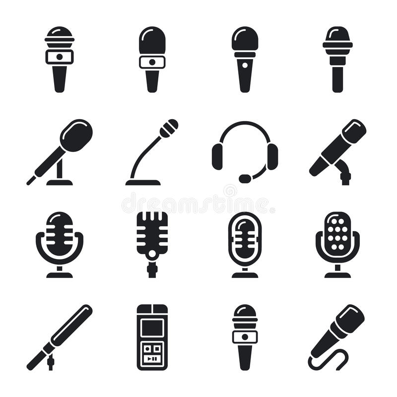 Microphone, sound, radio vector icons. Microphone for record sound music illustration royalty free illustration