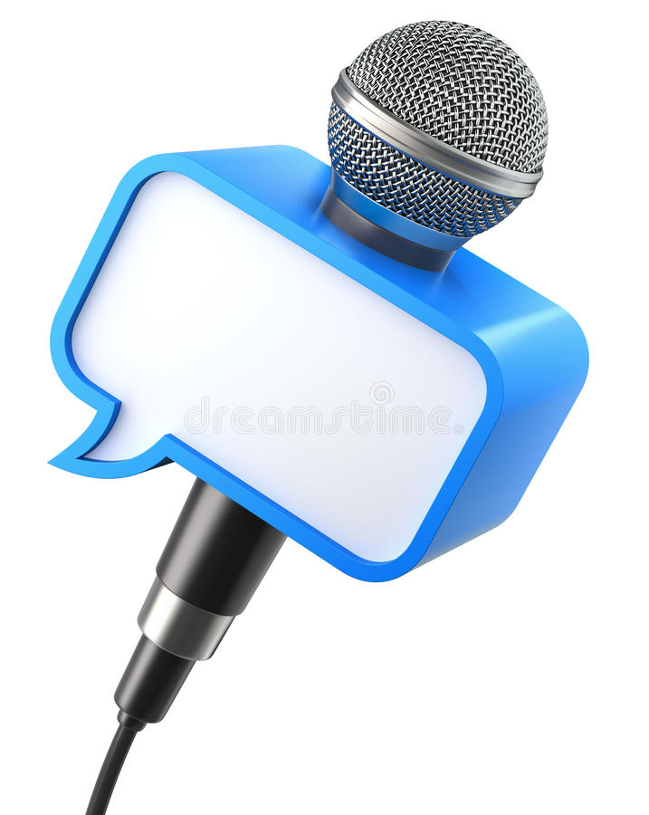 Microphone with speech bubble box. Isolated on a white background - 3D illustration vector illustration