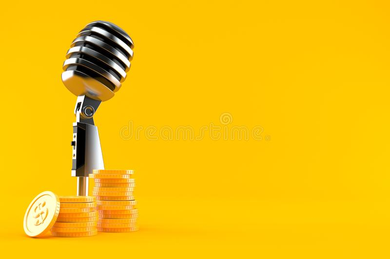 Microphone with stack of coins. Isolated on orange background. 3d illustration vector illustration