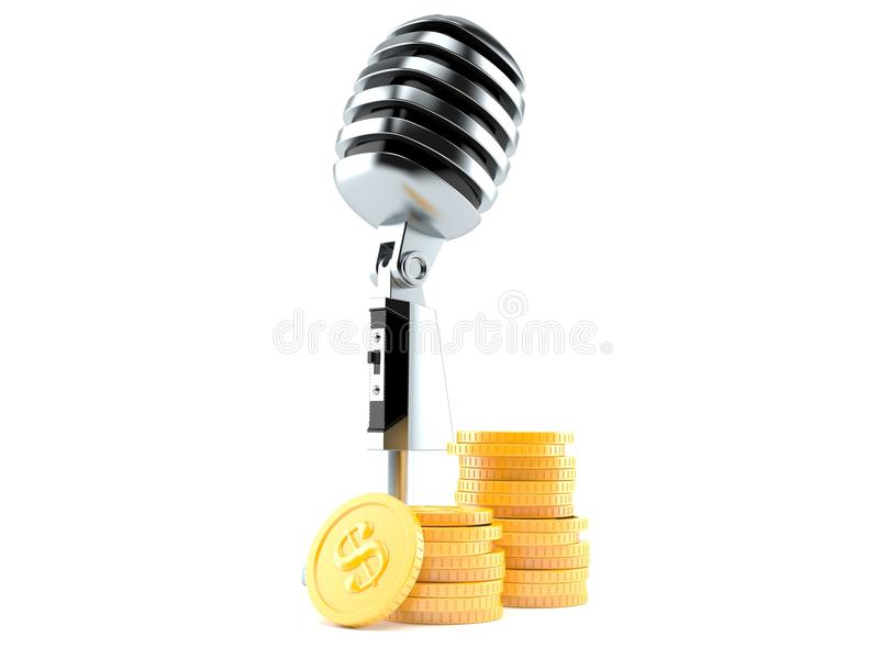 Microphone with stack of coins stock illustration