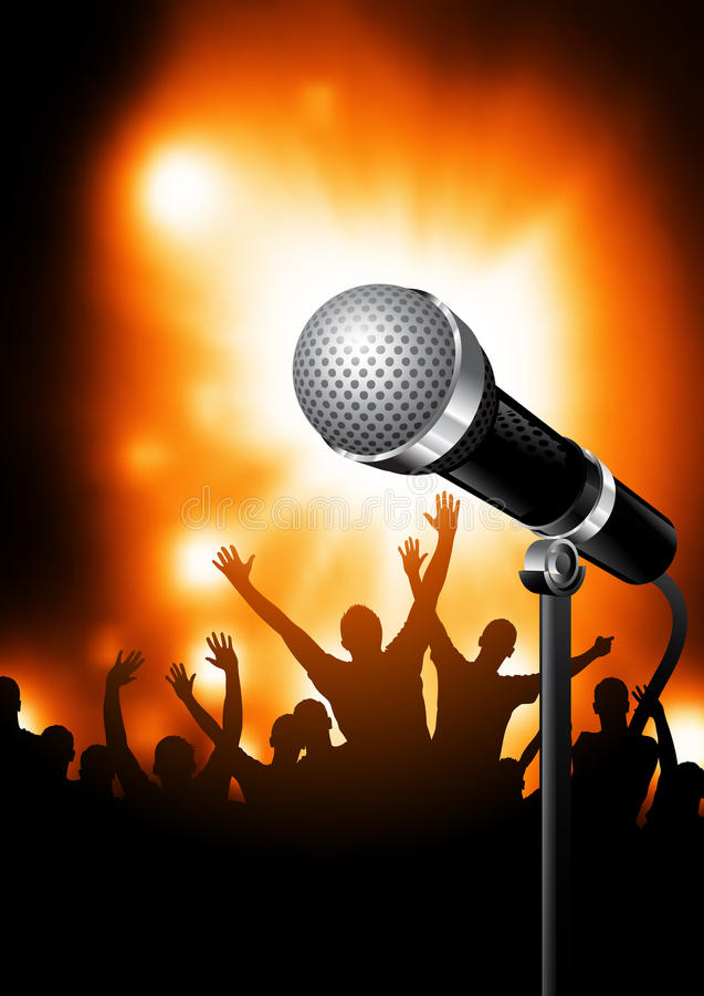 Microphone On Stage vector illustration