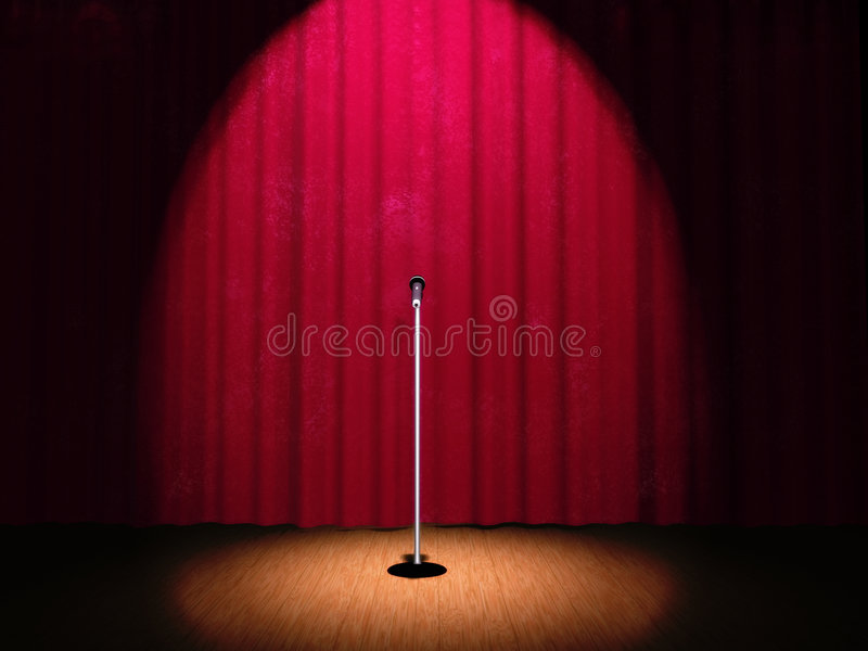 A microphone on a stage. With a spotlight on it royalty free illustration