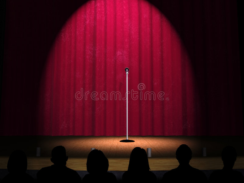 A microphone on a stage. With a spotlight on it and an audience in the foreground royalty free illustration