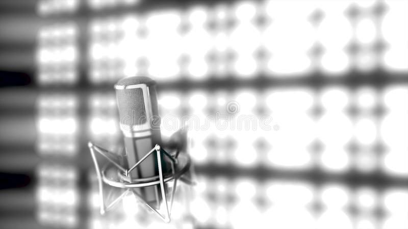 Microphone on stage with bright, blurred spotlights on background, monochrome. Abstract silver mic standing in front of. Bright lights, black and white stock illustration