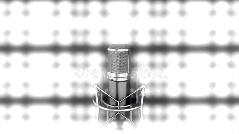 Microphone on stage with bright, blurred spotlights on background, monochrome. Abstract silver mic standing in front of. Bright lights, black and white vector illustration