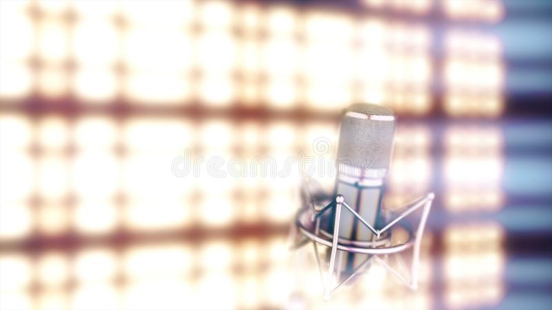 Microphone on stage with bright, golden, blurred spotlights on background. Abstract silver mic standing in front of. Bright lights vector illustration