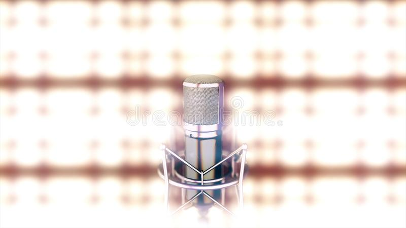 Microphone on stage with bright, golden, blurred spotlights on background. Abstract silver mic standing in front of. Bright lights royalty free illustration