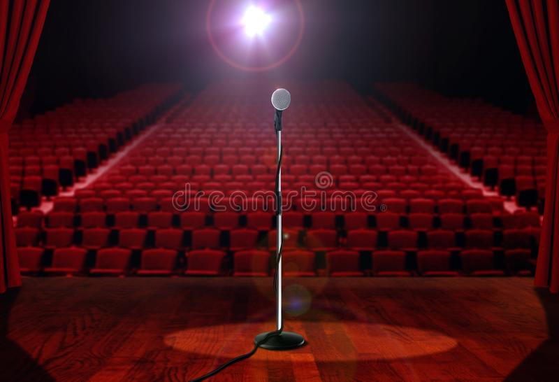 Download Microphone On Stage With Empty Seats Stock Illustration - Image: 34239783
