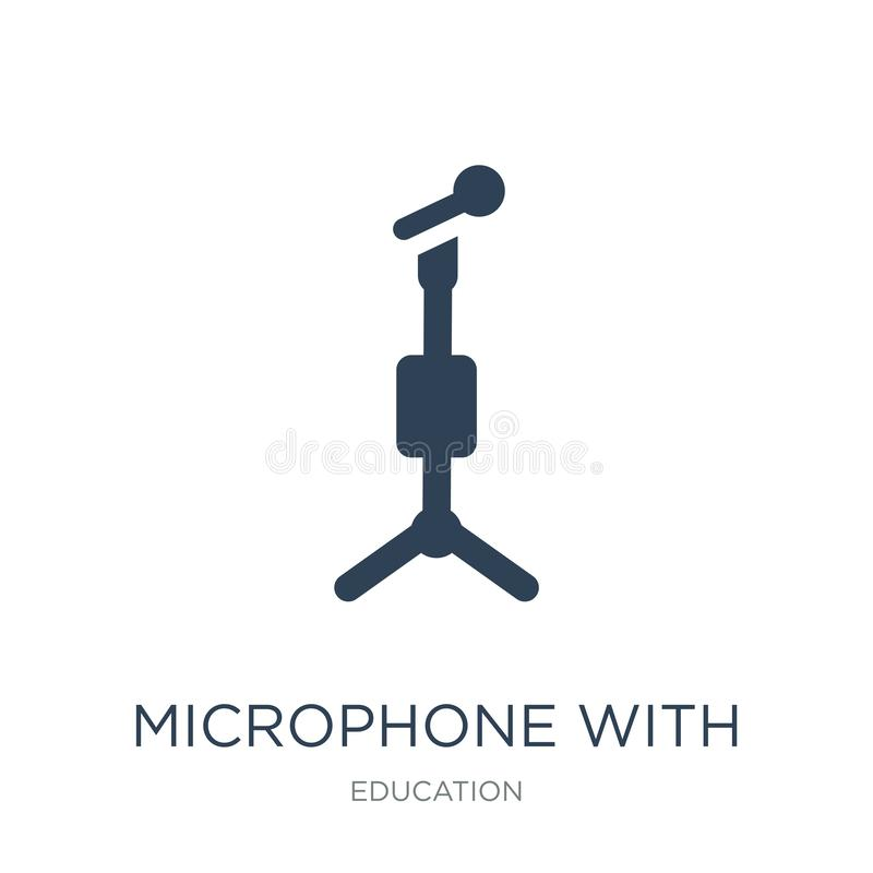microphone with stand icon in trendy design style. microphone with stand icon isolated on white background. microphone with stand royalty free illustration