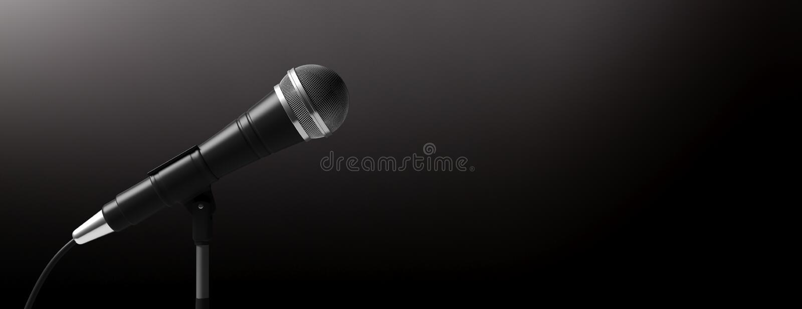 Microphone on stand isolated on black background, banner, copy space. 3d illustration. Cable microphone on stand isolated on black background, banner, copy space royalty free illustration